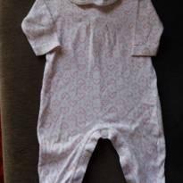 Macacão branco com corações rosa e golinha de fustão branco - 6 a 9 meses - Paola BimBi