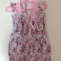 Vestido floral cinza e rosa - 1 ano - Abrange