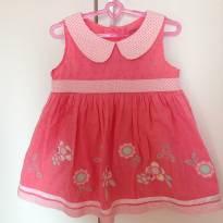 Vestido rosa com bordado floral e gola com estampa de poa - 6 a 9 meses - George
