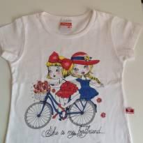 Camiseta branca com estampa de meninas na bicicleta - 18 a 24 meses - Marlan