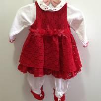 Vestido vermelho com macacão - 3 a 6 meses - Beth Bebê