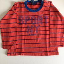 Camiseta manga comprida vermelha e azul - 3 a 6 meses - 1+1