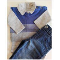 Kit de body, jeans e colete RN - Recém Nascido - Mini Noruega