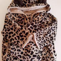 Conjunto de blusa e calça de oncinha de Plush, bem quentinho! PUC 6 a 9 meses - 6 a 9 meses - PUC
