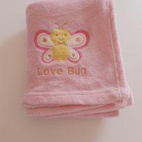 Manta de microfibra rosa claro com abelhinha -  - Sem marca