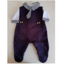 Macacão de tricot azul marinho com body de gravata RN - Recém Nascido - Malhas Renovação