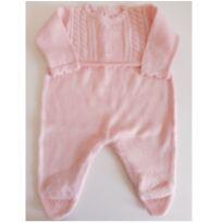 Macacão com pé de tricot salmão RN - Recém Nascido - Alô bebê