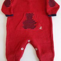 Macacão com pé de tricot vermelho Paola da Vinci - Recém Nascido - Paola Da Vinci
