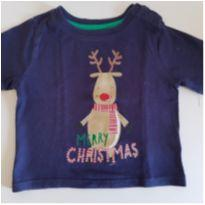 Camiseta natalina azul marinho 6-9 meses - 6 a 9 meses - Mini Rebel