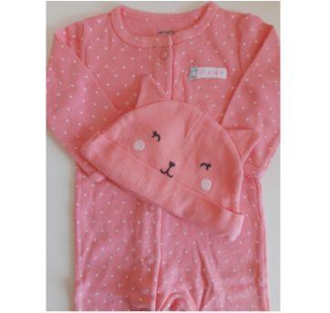 Macacão rosa com poa branco e touca Carter`s 3M - 0 a 3 meses - Carter`s