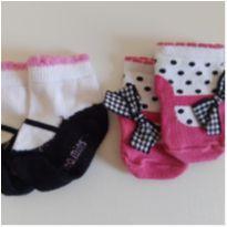 Kit de meias que imita sapatilha - 6 meses - Puket e Vitamins Baby
