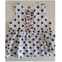 Blusinha bata branca com poa - 9 a 12 meses - Chicco