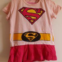 Vestido/ Fantasia Super Girl com capa 3-6M - 3 a 6 meses - Sem marca
