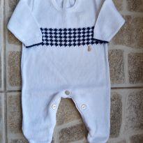 Macacão de tricot branco Paola Tricot RN - Recém Nascido - Paola tricot