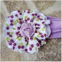 Faixa de cabelo de meia com flor -  - Artesanal