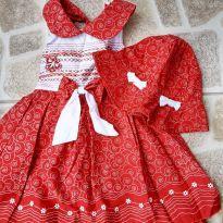 Vestido frente única vermelho e branco Tam. 4