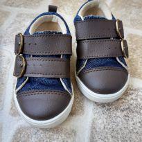 Sapatênis Jeans com detalhes em couro sintético marrom Tam. 20 - 20 - Tricae