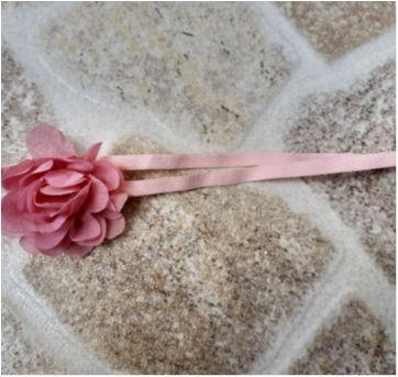 Faixa de cabelo rosa com flor - Sem faixa etaria - Artesanal
