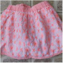 Saia bordada floral rosa neon, Chicco, Tam. 3 anos - 3 anos - Chicco