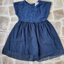 Vestido azul marinho com renda e tule tam. 3 - 3 anos - Baby Club