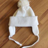 Touca de lã branca - até 1 ano -  - Artesanal