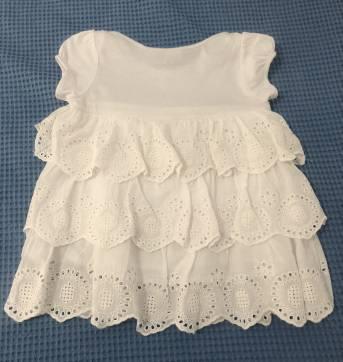 Vestido com babado em lese - Tip Top - Branco - 9 a 12 meses - Tip Top