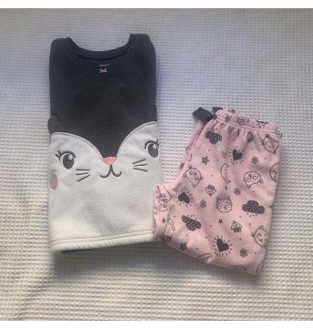 Pijama Conjunto fleece - Carter`s - gatinha - 3 anos - Carter`s