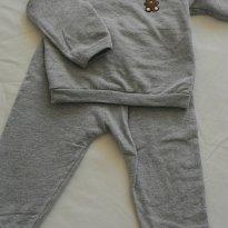 Conjunto moletom Cinza - 9 a 12 meses - Basic + Baby