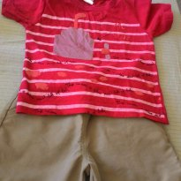 Conjunto camisa e bermuda em tactel - 9 a 12 meses - Não informada