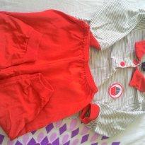 Pijaminha vermelho - 3 a 6 meses - Basic + Baby