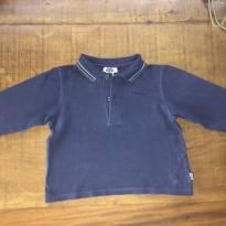 Camiseta manga longa azul marinho de piquet com gola polo da Chicco - 1 ano - Chicco
