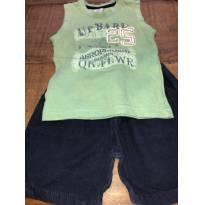 Conjunto camiseta regata verde e short azul marinho Up Baby - 9 a 12 meses - Up Baby