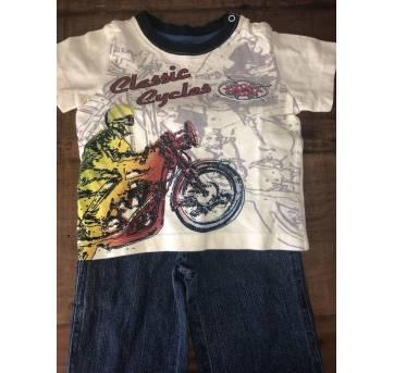 Conjunto calça jeans e camiseta Motorcycle Parigi - 18 meses - Parigi