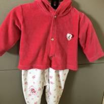 Lindo macacão + casaquinho em plush Baby Classic bem novinho - 0 a 3 meses - Baby Classic