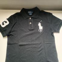 Camiseta Polo Ralph Lauren preta bordado grande - 7 anos - Polo Ralph Lauren