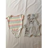 Conjunto Body manga Curta + Jardineira - Ursinho Pooh - 3 a 6 meses - Disney