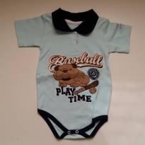 Body Polo Baseball Azul  - TAM 1 - 12 a 18 meses - Le & Ma Baby