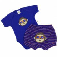 Best Club - Conjunto Macaco Azul Tam P - 0 a 3 meses - Best Club
