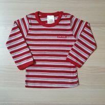 Camiseta Listrada Vermelha - Tam P - 0 a 3 meses - Pulla Bulla