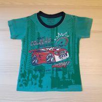 Camiseta Carros Verde - Tam 2 - 18 a 24 meses - Não informada
