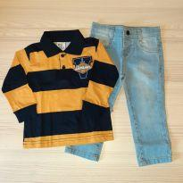 Conjunto Camiseta Polo e Calça Jeans - Pulla Bulla TAM 1