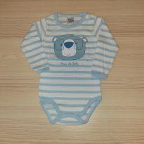 Body Listrado Urso Azul Claro - Pulla Bulla Tam M - 6 a 9 meses - Pulla Bulla
