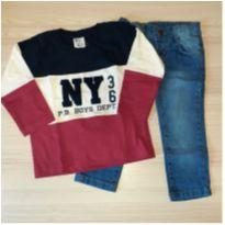 Conjunto Camiseta e Calça Jeans - Pulla Bulla Tam 1 - 1 ano - Pulla Bulla