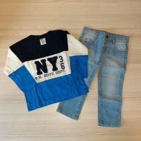 Conjunto Camiseta e Calça Jeans - Pulla Bulla Tam 1 - 12 a 18 meses - Pulla Bulla