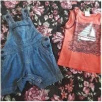 Kit 2 peças( Jardineira linda e camiseta regata) - 3 a 6 meses - Ralakids e sem etiqueta