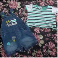 Conjunto:Linda Jardineira e blusinha. - 6 a 9 meses - Tip Top