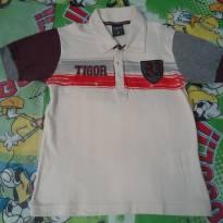Camisa TIGOR bege com mangas cinza/vinho - 4 anos - Tigor T.  Tigre