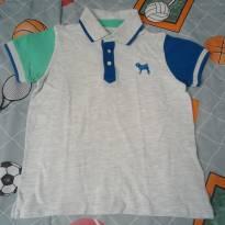 Camisa polo Charpey cinza/azul/verde - 8 anos - Tulye e Charpey