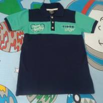 Camisa polo Tigor azul/verde - 6 anos - Tigor T.  Tigre