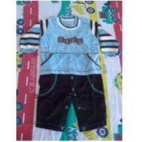 Macacão Keko Baby azul/marrom - 6 a 9 meses - Keko Baby